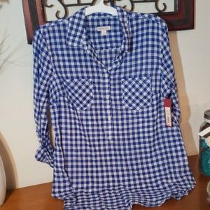 Blue & White Flannel.  Size L